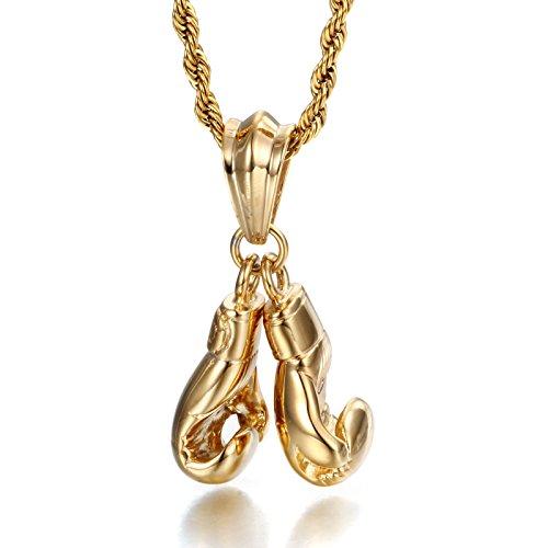 Yowell Herren-Halskette mit Anhänger in Form von 2 Boxhandschuhen, Titanstahl, Kette vergoldet