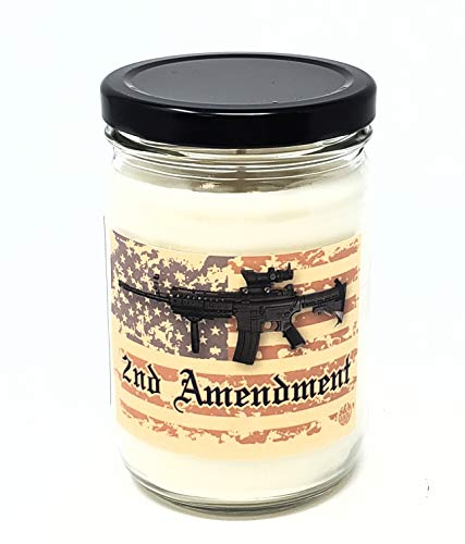 Mahogany Teakwood High Intensity Candle ~ 2nd Amendment Candle ~ Man Candle ~ Smells Like Its Guaranteed to let 'Tyranny Know to Move The F on' ~ All Natural Premium Soy Wax Candle (12oz Glass Jar)