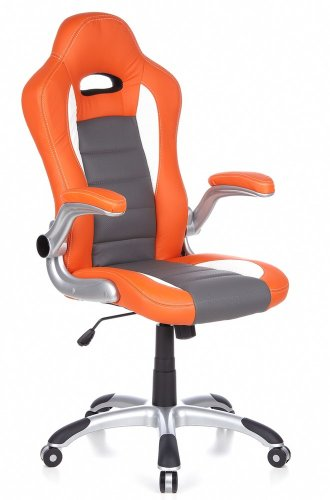 hjh OFFICE RACER SPORT - Silla gaming o de oficina, color naranja y blanco