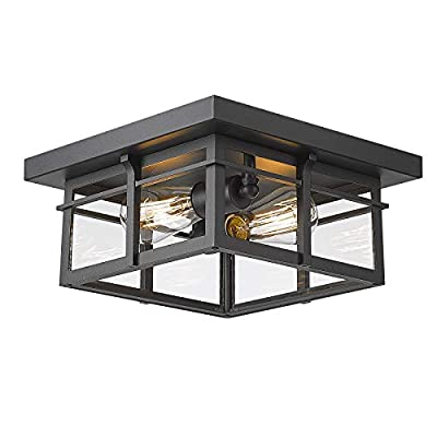 Industrial 2-Light Flush Mount Ceiling Light - HWH 12inch Vintage Close to Ceiling Lighting for Bedroom Dining Living Room, Matte Black Finish with Clear Glass, 5HW29F BK
