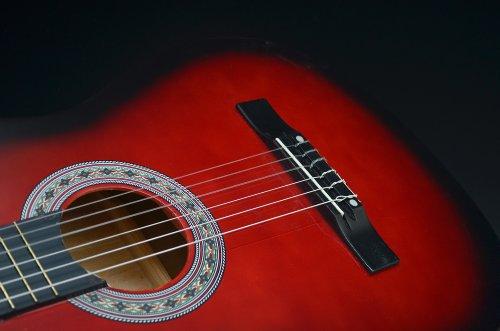 Ts-Ideen 5264 Akustik Gitarre Klassikgitarre Konzertgitarre mit Tasche, Gurt, Saiten und Plektrum rot/schwarz - 9