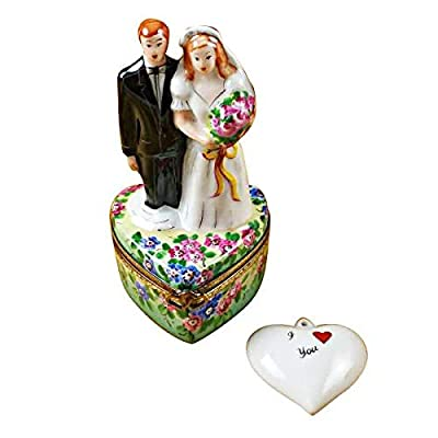 Bride & Groom ON Flowered Base - French Limoges Boxes - Porcelain Figurines Collectible Gifts