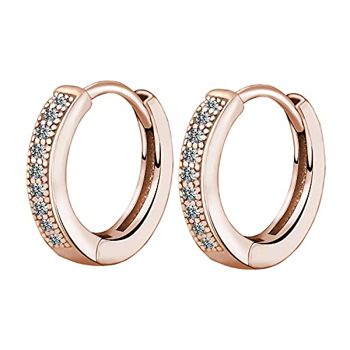 Women's Creole Earrings 925 Sterling Silver Hoop Earrings with AAA Zirconia, Diameter 14 mm, Small Sleeping Hoops, Comes in Jewellery Gift Box Rose-Gold