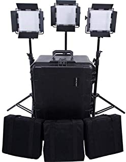 Dracast Silver Series LED500 Bi-Color 3-Light Kit, Includes 3X Light Stands, 3X Power Supply, V-Mount Battery Plate and Hard Kit Case