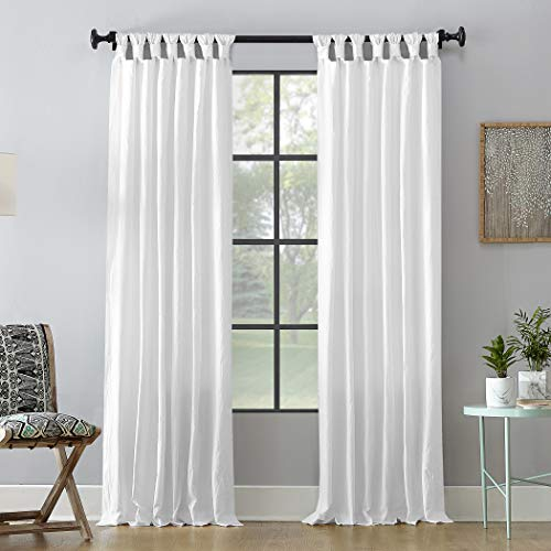"Archaeo Washed 100% Cotton Twist Tab Curtain, 52"" x 63"" Panel, White"