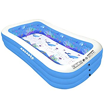 Aquadoo Family Swimming Inflatable Pool,118  X 72  X 22  Full-Sized PVC Material Inflatable Lounge Pool for Baby Kids Adults Blow up Kiddie Pool for Outdoor Garden Backyard