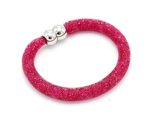BC521-Brazalete magnético Stardust tubo de rejilla elaborada. modo con cristales de fantasía, color rosa