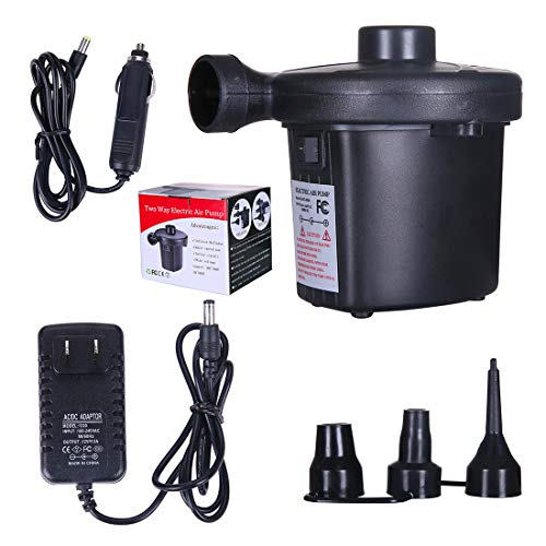 Electric Portable Air Pump Quick-Fill Air Pump with 3 Nozzles, Electric Inflator/ Deflator Air Pump, 110V AC/12V DC Fill Inflator Pump for Pool Toys /Air Mattress/Rafts Floats /Boats /Swimming Ring