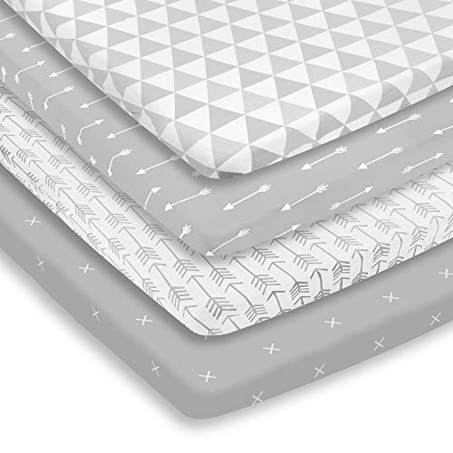 Pack n Play Sheets – Pack and Play Sheets 4 Pack – 100% Super Soft Jersey Knit Cotton Playard Mattress Sheets – Portable Playpen Sheet – Fitted Play Yard Mini Crib Sheets For Boy & Girl (24 x 38 x 5)
