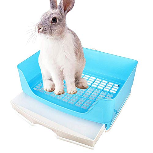 kathson Large Rabbit Litter Box Trainer, Potty Corner Toilet with Drawer Bigger Pet Pan for Adult Hamster, Guinea Pig, Ferret, Galesaur, Bunny and Other Animals (Blue)