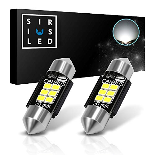 "SIRIUSLED Extremely Bright 400 Lumens 3020 Chipset Canbus Error Free LED Bulbs for Interior Car Truck Lights License Plate Dome Map Door Courtesy 1.25"" 31MM Festoon DE3175 6428 Xenon White"