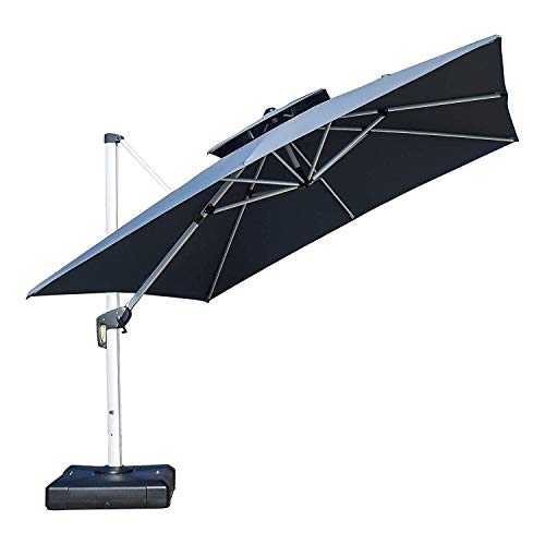 PURPLE LEAF 10ft Patio Umbrella Outdoor Square Umbrella Large Cantilever Umbrella Windproof Offset Umbrella Heavy Duty Sun Umbrella for Garden Deck Pool Patio, Grey