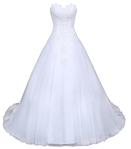Romantic-Fashion Brautkleid Hochzeitskleid Weiß Modell W046 A-Linie Satin Stickerei Perlen Pailetten DE Größe 38