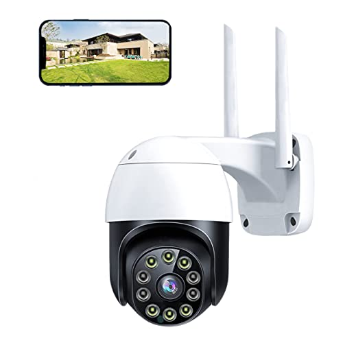 Outdoor Security Camera Wireless 2.4G WiFi Home Security CCTV IP PTZ Camera Surveillance System 1080P with 2-Way Audio 360° View Motion Detection Night Vision IP66 Waterproof Smart Auto Tracking