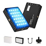 RGB LED Video Light,FLASHOOT LED On Camera Video Light with Built-in 3000mAh Rechargeable Battery RGB Camera Lighting Portable Mini Pocket Light for Camera Photography Camcorder Shooting YouTube Vlog