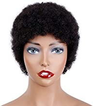 Afro Kinky Curly Short Human Hair wigs for Black Women Brazilian Virgin Hair Capless Cap Wigs Natural Black Color