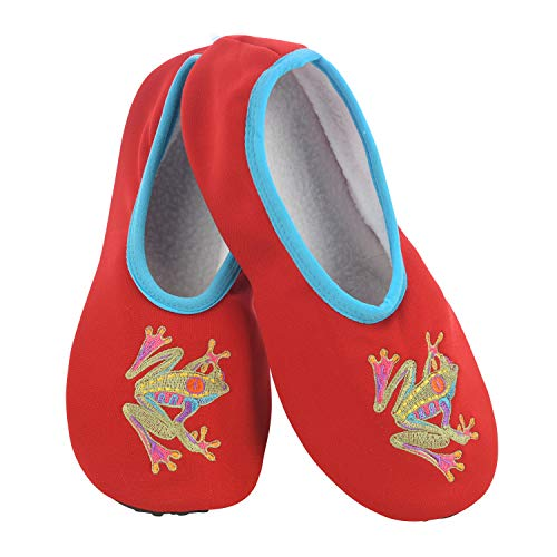 Snoozies Solefully Comfortable Slippers - Womens Slipper Socks with Hard Sole -Frog - Large