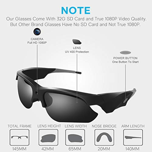 Camera Video Sunglasses,1080P Full HD Video Recording Camera,Shooting Camera Glasses,Cycling,Driving,Hiking,Fishing,Hunting