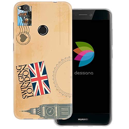 dessana postzegels transparante beschermhoes mobiele telefoon case cover tas voor Huawei, Huawei P8 Lite (2017), Ansichtkaart Londen