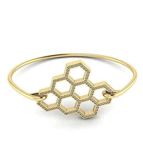 Jbr Honeycomb Bee Hive - Pulsera de plata de ley para regalo de cumpleaños