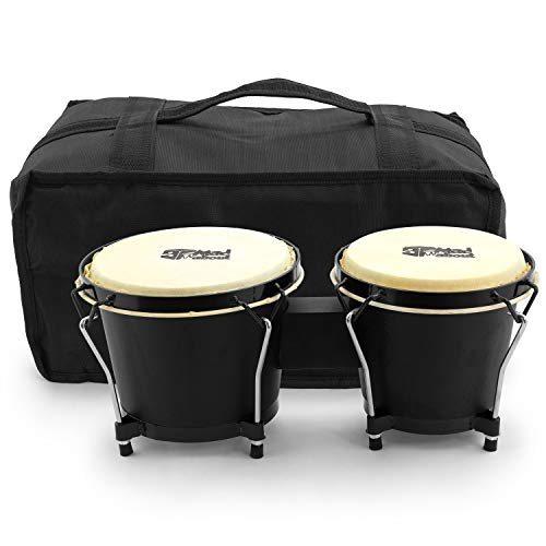 'Mad About BON01 Bongo Drums, 6 inch and 7 inch Oak Hand Drums with Carry...