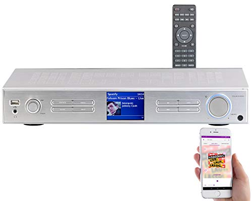 VR-Radio Netzwerkplayer mit DAB+: WLAN-HiFi-Tuner mit Internetradio, DAB+, UKW, Streaming, MP3, Silber (DAB Receiver)