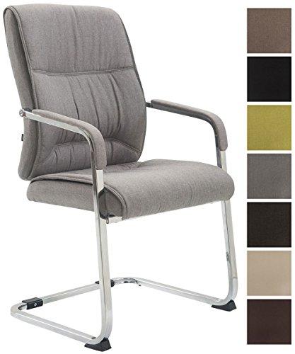 XXL-Freischwinger Anubis Mit Gepolsterter Sitzfläche I Konferenzstuhl Mit Metallgestell In Chrom-Optik Und Stoffbezug, Farbe:grau