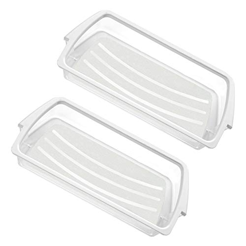 W10321304 WPW10321304 Door Shelf Bin Replacement for Whirlpool Clear Door Bin with White Band on top, 2 Pack