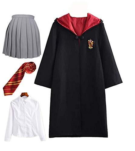 Disfraz de Harry Potter para niño Adulto Unisex Capa Disfraz Cosplay Conjunto Traje Varita mágica Corbata Bufanda Gafas Gafas Marco Sombrero Camisa de roca Carnaval Disfraz Carnaval Halloween 105-272