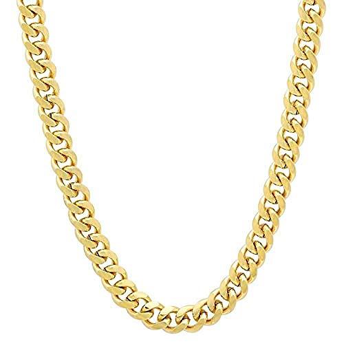 NC190 24 K joyas de oro 8 mm 60 cm Hip Hop hombres collar cadenas moda largo cubano collar dorado relleno de color dorado