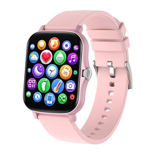 COLMI Relógio inteligente de 1,7 polegadas para homens e mulheres, 2021 Smartwatch atualizado P8plus compatível com iPhone Andriod, rastreador de atividades à prova d'água com frequência cardíaca e monitor SpO2 (rosa)