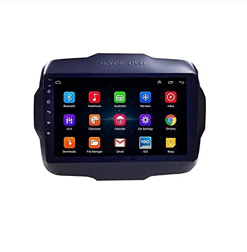 ZHFF Android 9.0 Car Stereo Radio Sat Nav Compatible con Doble DIN Jeep Renegade 2016-2018 Navegación GPS Pantalla táctil de 9 Pulgadas Unidad Principal Reproductor Multimedia Receptor de Video WiFi