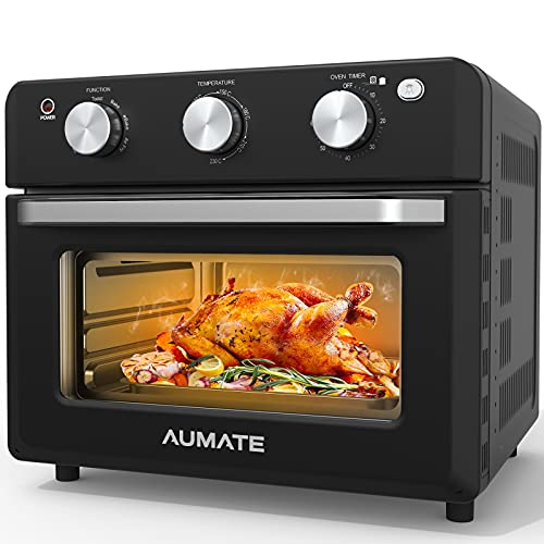 AUMATE Air Fryer Toaster Oven,18L Convection Mini Oven,1600W Large Roaster Oven,Multi Air Cooker, Countertop Oven,Rotisserie Oven with Dehydrator,Oilless Electric Oven Knob Control, 4 Accessories