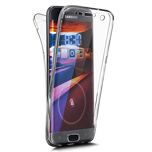 kompatibel mit Galaxy S7 Edge Hülle,360 Full Body Cover Transparent TPU Silikon Hülle Crystal Clear Bumper Handyhülle Durchsichtig Vorne Hinten Schutz Schutzhülle Case für Galaxy S7 Edge,Clear