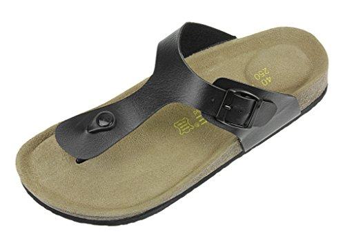 Nouveau Unisexe Tongs Plat en PU Pantoufles d'été Mode Sandales Hommes Femmes Chaussons Confortable Chaussure de Bain Plage Piscine Bois Souple Flip Flop Ouvert Antidérapante - Noir - EU 39/40