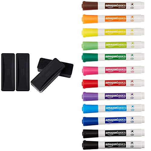 Amazon Basics Dry Erase Whiteboard Eraser - Set of 4 & Dry Erase White Board Markers - Low Odor, Chisel Tip - 12 Pack, Assorted Colors