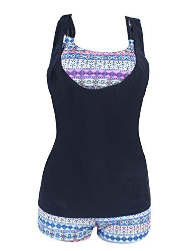 FeelinGirl Damen Tribal Print Tankini mit 3 Badeanzug Bikini Set M Grau mit Stoffdruck