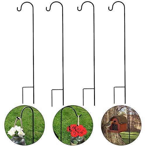 YARNOW 4 Stück Schäferhaken 35 Zoll Eisen Schäferhaken Langlebiger Pflanzenständer Laternenhaken zum Aufhängen von Solarleuchten Vogelhäuschen Blumenkorb Weihnachtslichter