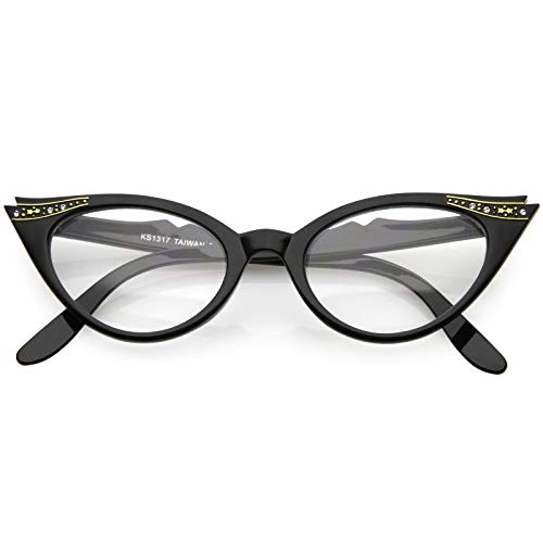 Vintage Cateyes 80s Inspired Fashion Clear Lens Cat Eye Glasses with Rhinestones (Black)