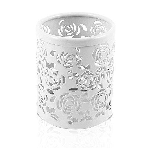 Leisial Solide Couleur Pot de Fleurs Vase à Plante Décoration de la Maison (Blanc Métal)