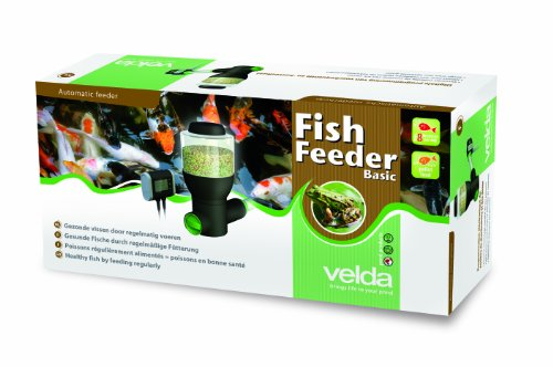 Velda 124818 Futterautomat für Teichfische, 2 Futterschnecken zur Fütterung von Flocken oder Granulaten, 2,5 Liter, Fish Feeder Basic