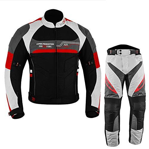 Traje de moto para hombre de 2 piezas de motocicleta impermeable Cordura tela traje chaqueta pantalones para hombre – todo tipo de clima (46 pecho / 40 cintura, rojo)