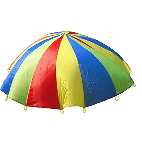 MYHH 5 m niños juego al aire libre ejercicio deporte juguetes arco iris paraguas paracaídas juego divertido juguete con 24 correas de mango para familias/jardines de infancias/parques de atracciones.