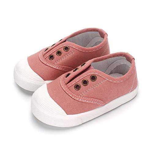 LACOFIA Zapatos Escuela de Lona para bebé niña niños Zapatillas Deportivas para niños Unisex Rosa 27
