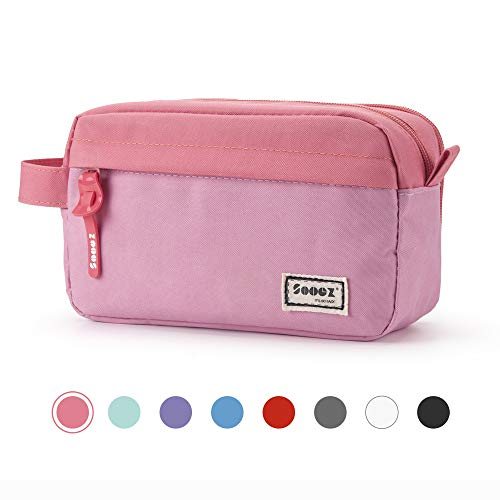Sooez High Capacity Pen Case, Durable Pencil Bag Stationery Zipper Pouch, Portable Journaling Supplies with Easy Grip Handle & Loop, Aesthetic Supply for School Girls Teens Adults, Pink