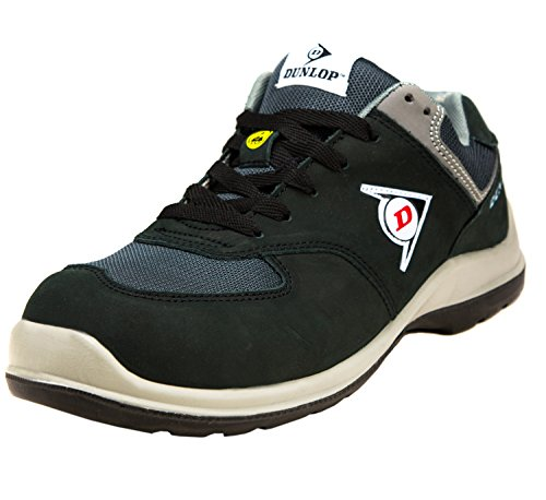 Dunlop Flying Arrow Sicherheitsschuhe S3 mit Zehenkappe und ACE Schuhbeutel, Schwarz-Grün, Größe- 43