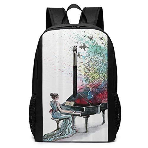 TRFashion Sac à Dos Grand Piano Music Butterflies Ornamental Pianist Swirls Vintage Image Laptop Backpack 17 inches Travel Gym Bag Yoga Bag School Bag Book Bag for Men Women Teenagers