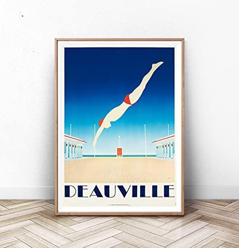 Deauville Art Deco Poster Impression Art Deco Posters Kodak Plage Art Natation Décoration intérieure