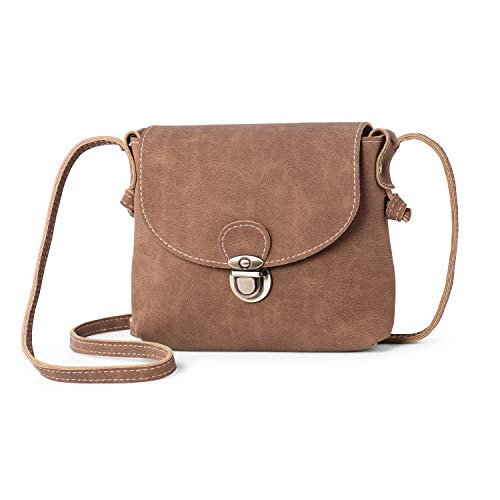 Small Cross Body Bag for Women with ANTI-THEFT LOCK Vegan Leather Mini Ladies Handbag Shoulder Bag Side Bag for Holiday Travel Summer (Tan)