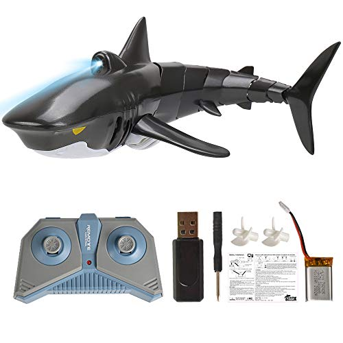 EsOfficce Remote Control Shark Toy with Headlights, Rechargeable Electric Toy RC Shark Pool Toys for Kids,Black